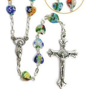Jewelry - Rosary Murano Glass Beads Heart Shaped